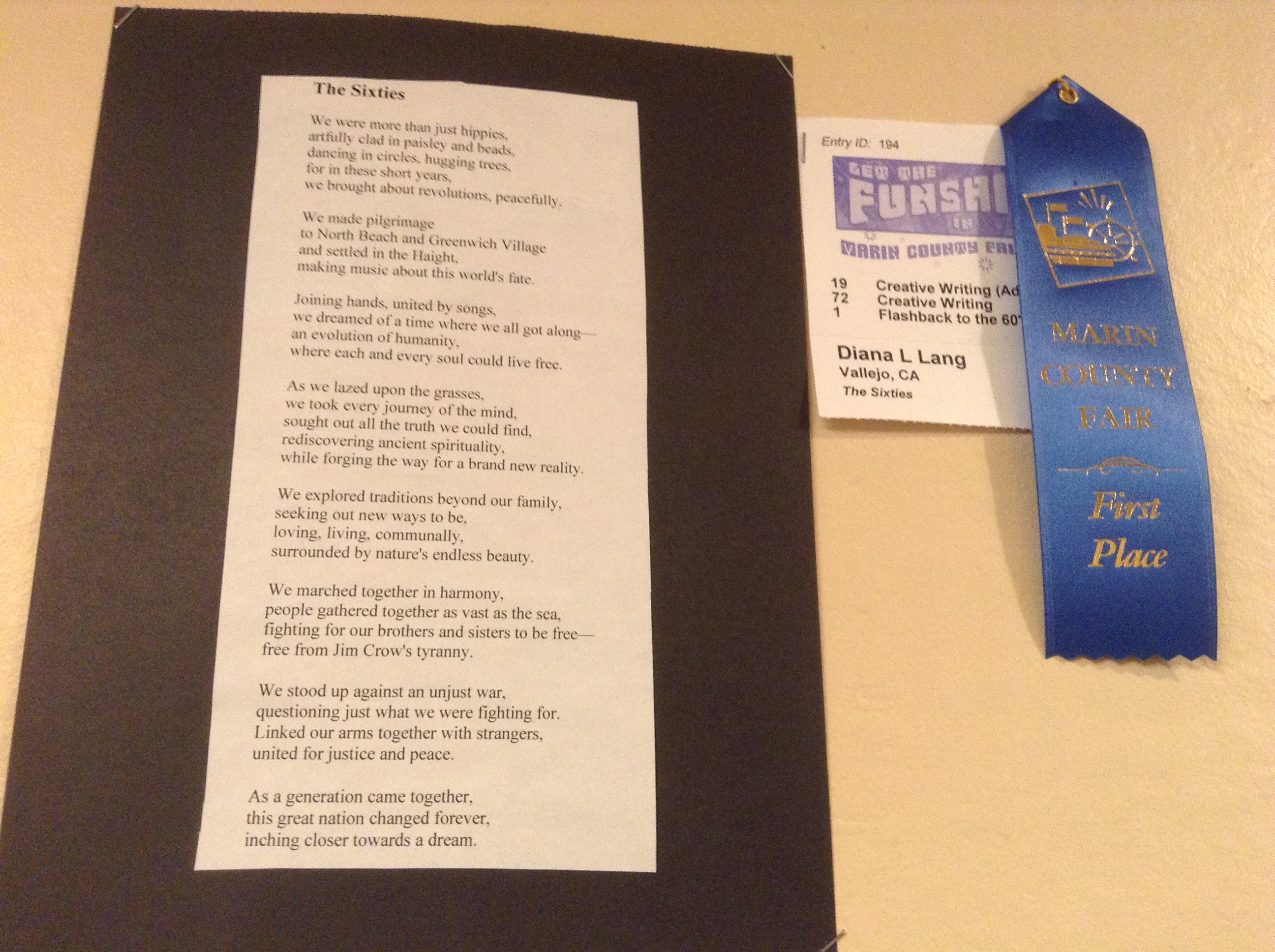 The Sixties D.L. Lang Marin County Fair Blue Ribbon